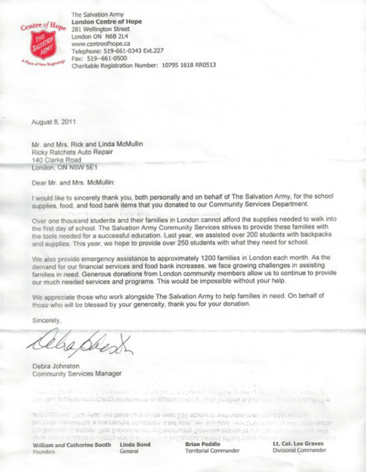 letter from the salvation army london ontario